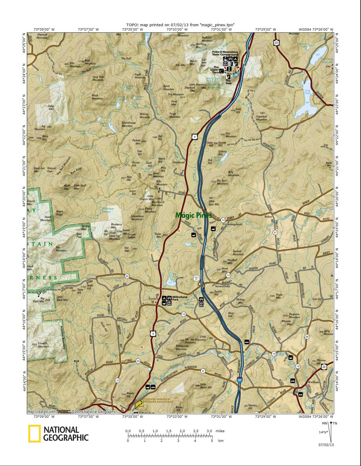 Topographic Map Centered on Campground